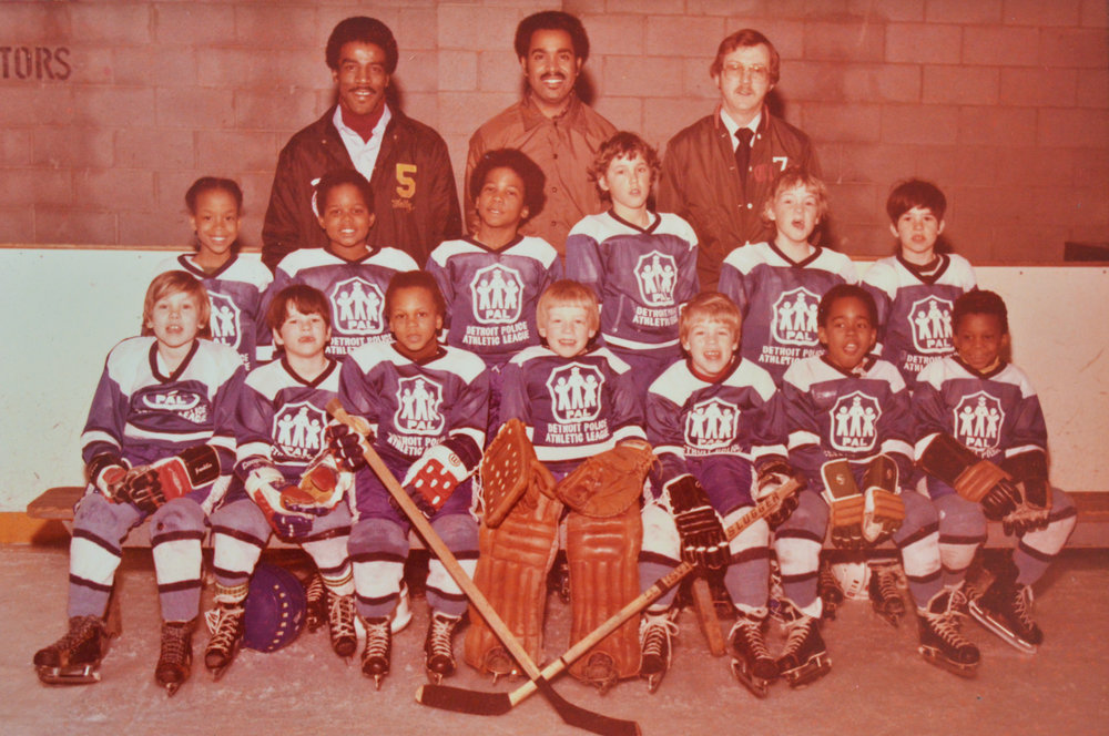 "Little Rhea, the pacifist hockey player. ""My father (Charles Combs, top center) was a hockey fanatic. He watched it all the time. That's part of the reason I was so proud to be on the team; it was a way for us to connect.""  Photo courtesy of Rhea L. Combs."
