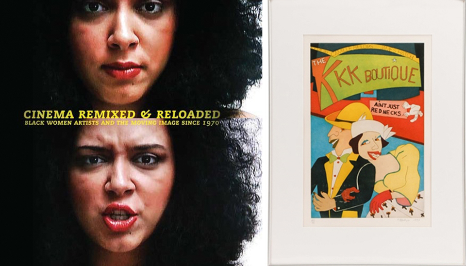 Rhea is honored to have her interview with artist/filmmaker Camille Billops included in Cinema Remixed & Reloaded: Black Women Artists and the Moving Image Since 1970. (left) A print of Billops' original poster art for her film KKK Boutique: Aint Just for Rednecks.