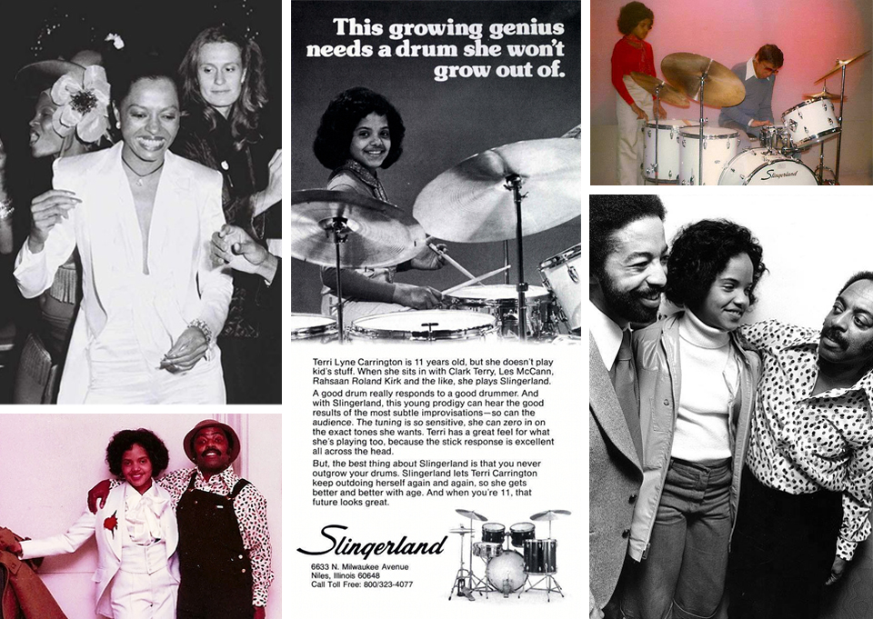 Top left:  Young Terri  Lyne's idol Diana Ross at Studio 54; below TLC's take on white suit and tails with Roy Haynes. Center: Terri Lyne's Slingerland Drum ad appeared alongside a feature article on her in the October 1977 issue of  Modern Drummer  magazine. Top right: Drummer Buddy Rich, who helped the tween become the youngest endorser for Slingerland Drum Company (though she now endorses  Yamaha  drums) helps her on set of the advertising shoot. Below, Terri Lyne is flanked by drum greats Tony Williams and Roy Haynes. Personal photos courtesy of Terri Lyne Carrington.
