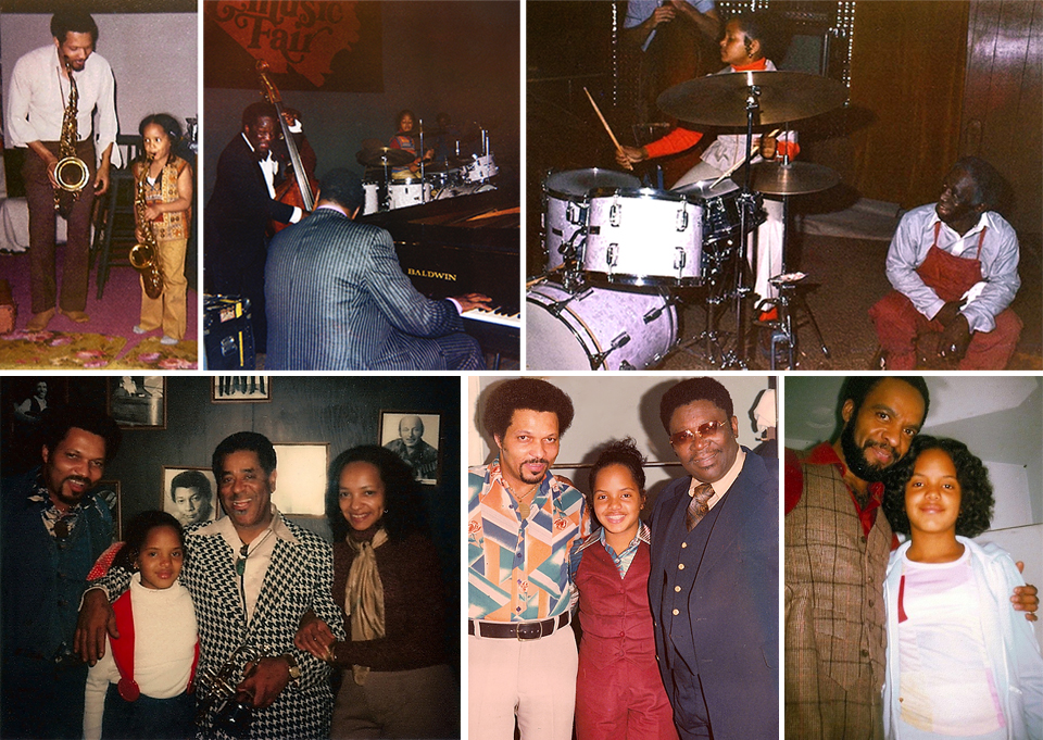 "Clockwise from left: Little Terri the budding saxophonist before losing both her baby teeth and her embouchure; sitting in with Oscar Peterson on piano and Keter Betts on bass; all  poise  as the master, Art Blakey sits smiling at her feet; a post-jam pic with sax great, Grover Washington, Jr.; flanked by her father, Sonny and Mr. B.B. King: Terri with her proud parents and the legendary John Birks ""Dizzy"" Gillespie, who said of Terri's skill, ""Oooowee, man, she's mean! She's good, man! That little girl can play!""  Photos courtesy of Terri Lyne Carrington."