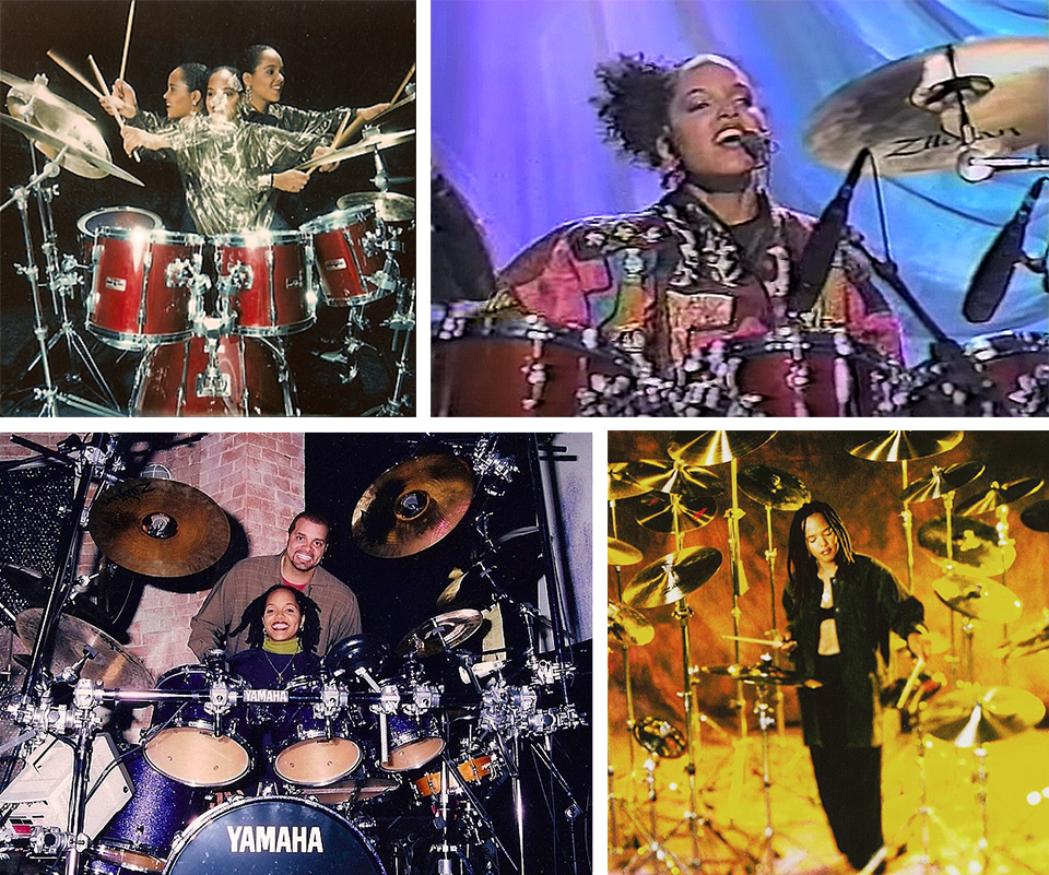 "A rising drum star: in triplicate for    People Magazine   ; performing   ""Human Revolution""   from her debut album on Verve Forecast,   Real Life Story    on    the Arsenio Hall Show in 1989; cutting a lean figure in an artful cymbal shot; house drummer on the set of   Vibe   with host, Sinbad in 1997.  Photos courtesy of Teri Lyne Carrington."