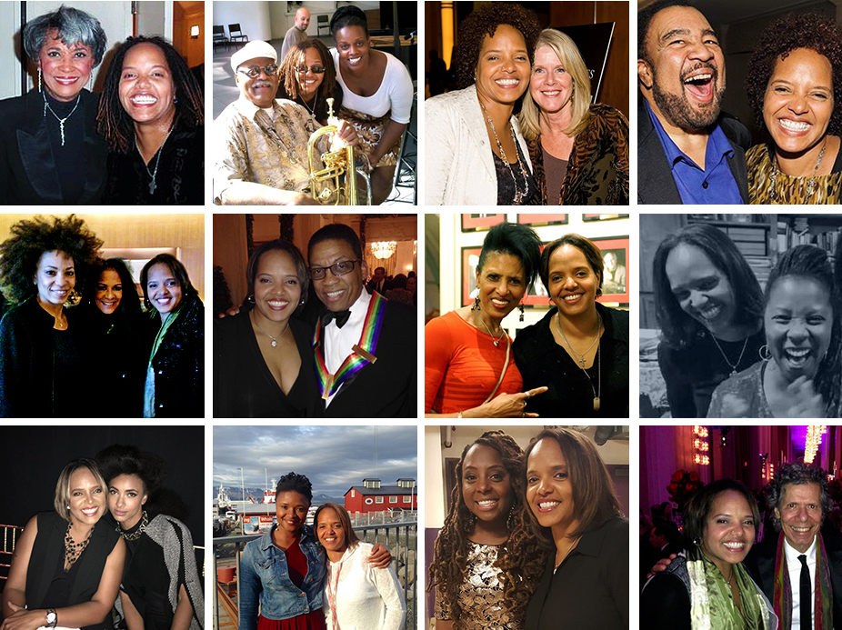 TLC with: Nancy Wilson, Clark Terry & Dianne Reeves, Tipper Gore, George Duke, Cindy Blackman & Sheila E., Kennedy Center Honoree, Herbie Hancock, Nona Hendryx, Patrice Rushen, Esperanza Spalding, Lizz Wright, Ledisi and an artist she's not yet played with but would love to ... Chick Corea. Photos courtesy of Terri Lyne Carrington.