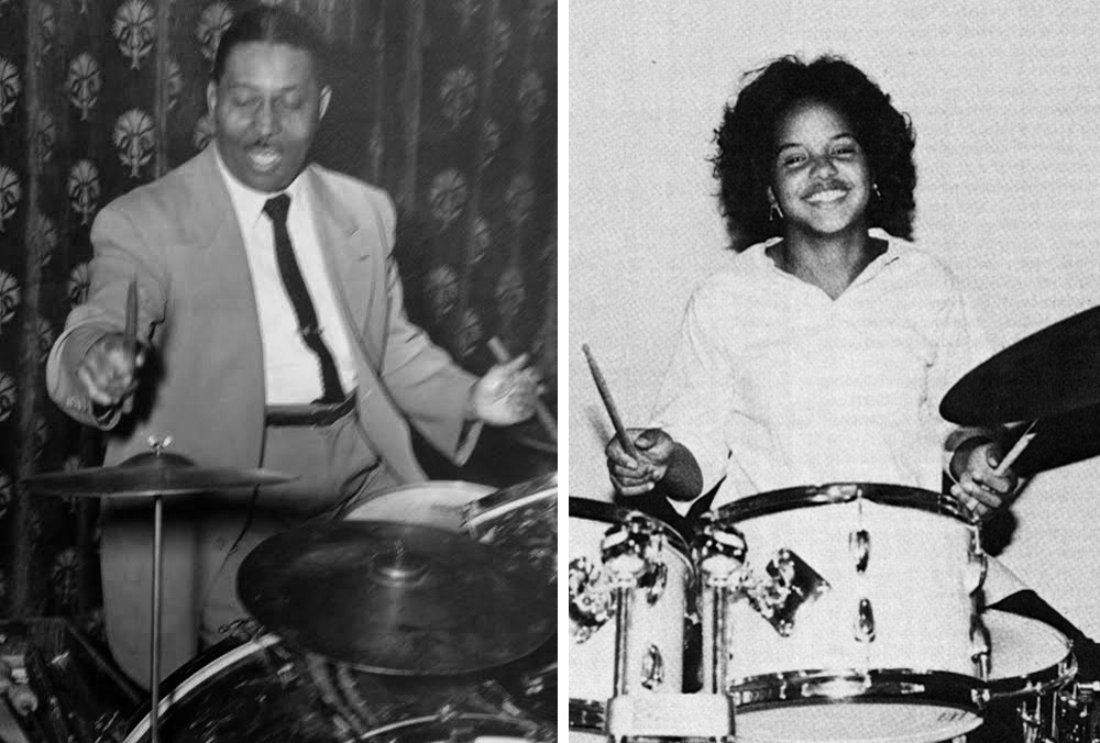 Matt Carrington, Jr.  and  the gifted granddaughter he never met.  Photos: left, courtesy of The Carrington Family; right, Richard Brown for  DownBeat   magazine  (3-22-79).