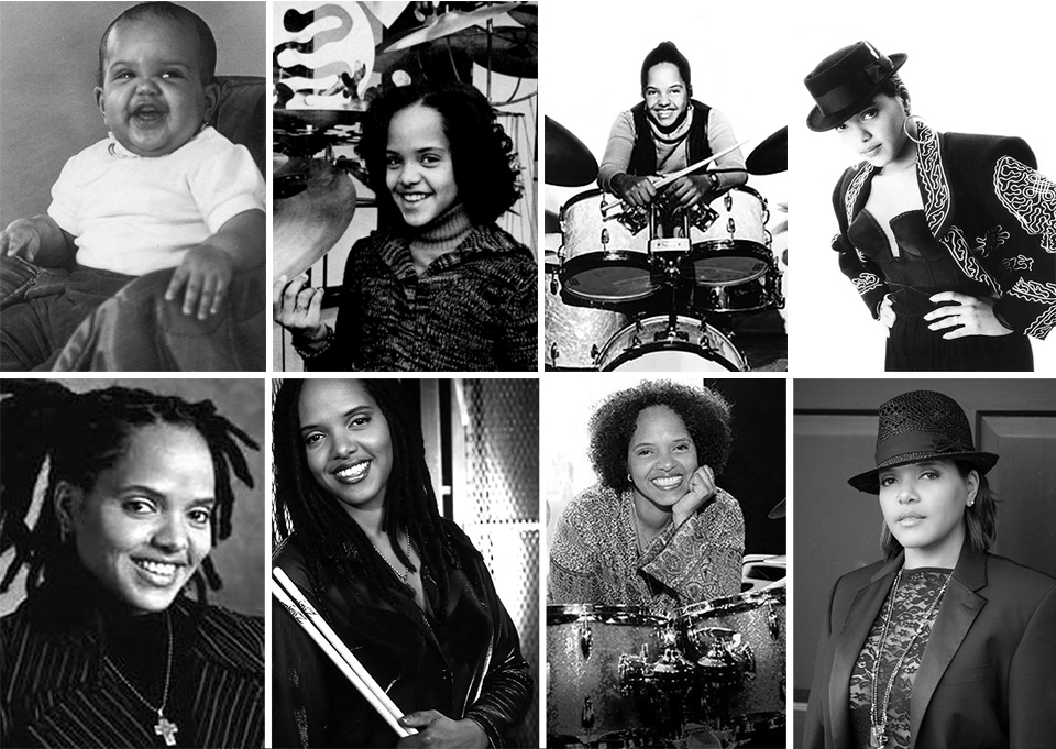 Through the years. Photos courtesy of Terri Lyne Carrington, except second image, top row,   EBONY magazine,  Johnson Publishing Company .