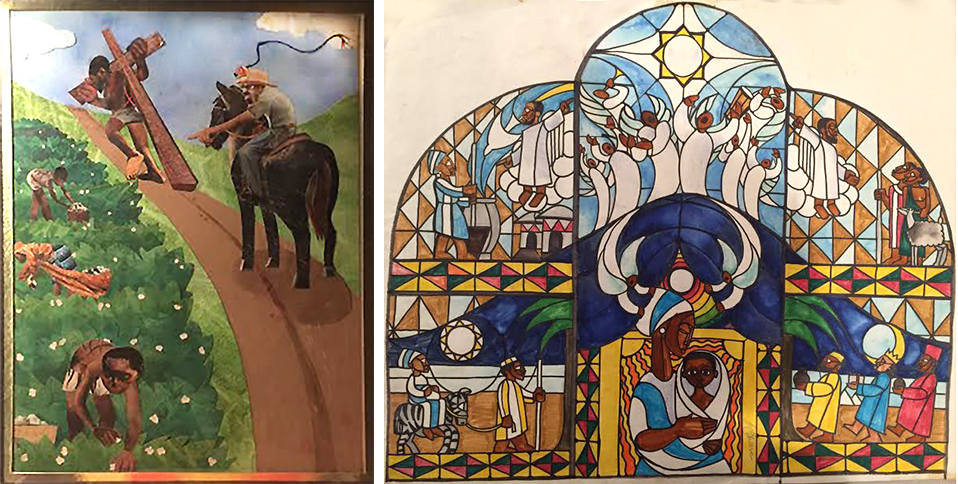 Christ dragging the cross through the cotton field taunted by the overseer's lash was the first image to come to him as he began the series. A jubilant nativity scene created in stained glass became the pièce de résistance. Only the watercolor study of the triptych survives. Images courtesy of Jimmy James Greene.