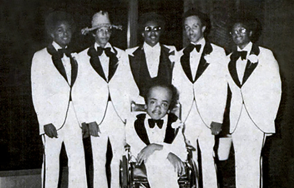 Jimmy, second from left, with fellow members of Mass Production in 1973. The photo appeared in the February 17, 1977 issue of Jet Magazine in an article on the death of drummer, Delbert Patterson, seated front center.