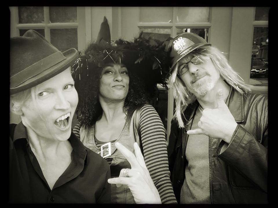 Halloween at Bar Sepia. Delissa and Elia with photographer, Gigi Stoll.