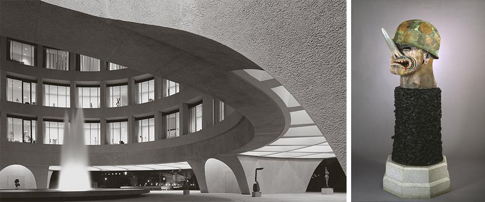 Left, Joseph H. Hirshhorn Museum and Sculpture Garden, designed by Gordon Bunshaft of  SOM  © Ezra Stoller | Esto.  Right , Robert Arneson,  General Nuke,  1984 , glazed ceramic and bronze on granite base. Collection of the  Hirshhorn Museum and Sculpture Garden, Smithsonian Institution.