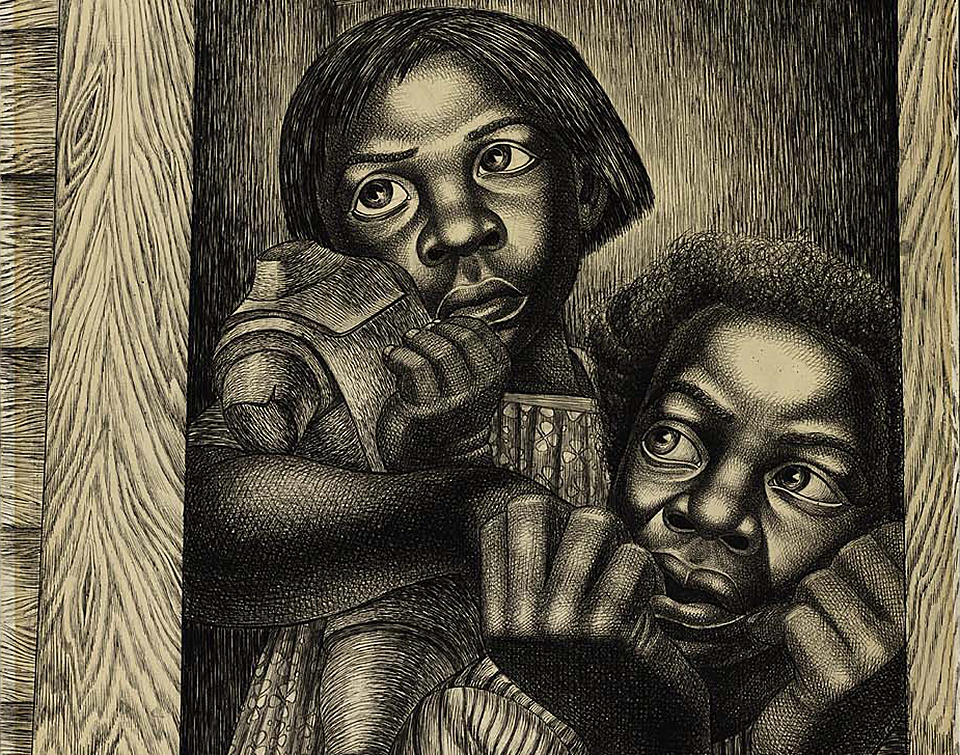 Detail from Charles White,  Untitled,  1950, ink and graphite on paper. Collection of  Smithsonian American Art Museum,  Gift of Julie Seitzman and museum purchase through the Luisita L. and Franz H. Denghausen Endowment.