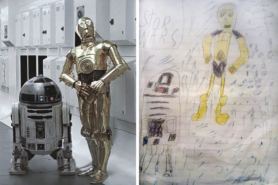 Star Wars  introduced one of the most favorite cinematic robot duos of all time: the   astromech  , R2-D2 and his humanoid counterpart, C-3PO. RIght, Maurice's interpretation.