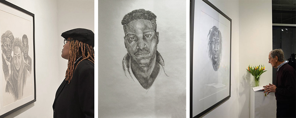 Drawing was Janathel's first medium in childhood, and to this day she puts pencil to paper, often in large graphite portraits. From left, her sister, Dorethea studies  Here to Stay,  ©  2017   center,  Prodigal Son, © 2015, a rendering of her son Maurice; a gallery patron stands before  The Poet,  ©  2015.