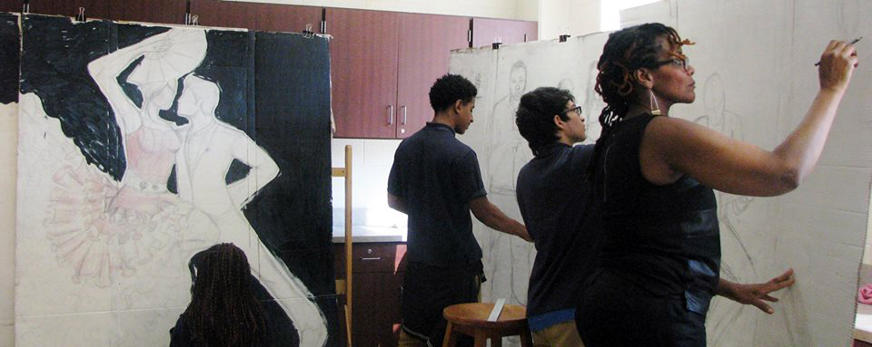 The teacher, working on theatrical set design with her DCPS students.  Photo courtesy Janathel Shaw.