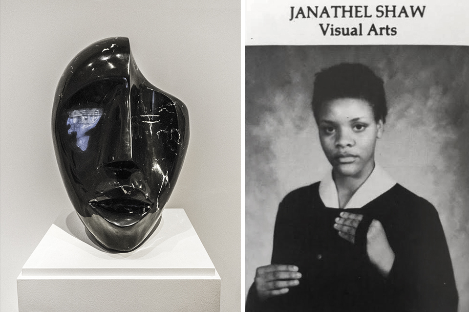 Elizabeth Catlett,  Singing Head,  1980, black Mexican marble. Collection of  Smithsonian American Art Museum , a work that deeply inspired the young visual art student. Senior portrait, Duke Ellington School of the Arts 1980 yearbook.