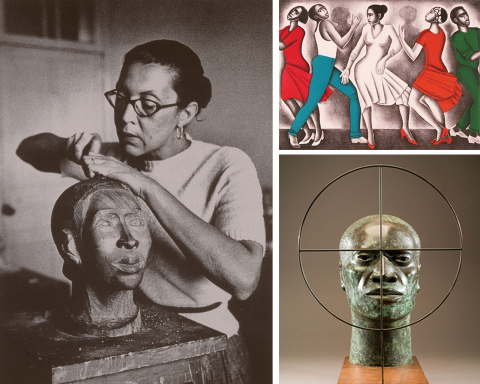 Elizabeth Catlett at work on a bust.  Dancing , 1990, Color lithograph.  Target,  1970, Bronze.