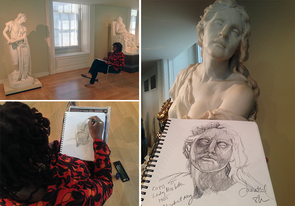 Seated near African American sculptor Edmonia Lewis' famed 1876 sculpture,   Death of Cleopatra ,  Janathel sketches the 1905 Elisabet Ney marble,     Lady Macbeth   at SAAM.
