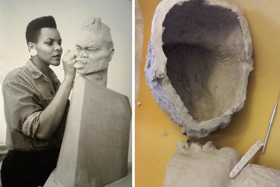 The grad student working on    Sistah   Anger  from her ©1994  Sistah  series.  Photo by Andrew White. A work, cut and hollowed.