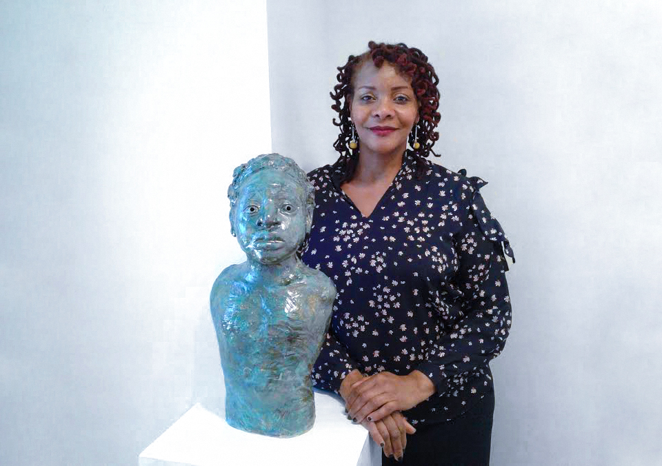 Janathel Shaw photographed at the Touchstone Gallery.   Tender One,  ceramic with glaze, ©2017