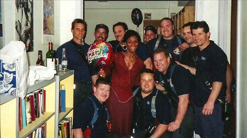 Celebrating her birthday with the brave firefighters of Engine 280/Ladder 132 in Brooklyn.