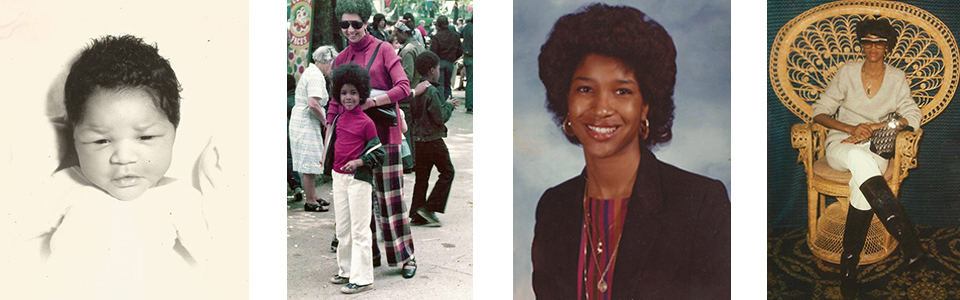 Baby Lee Lee; Afros and turtlenecks—twinning with mom; Ninth grade: snatchback, gold hoops and no pork on her fork; Laura Biagiotti shades and a Dior bag-working the wicker and rocking the boots is a theme she'll reprise in a glamazon calendar. Photos courtesy of Liza Jessie Peterson.