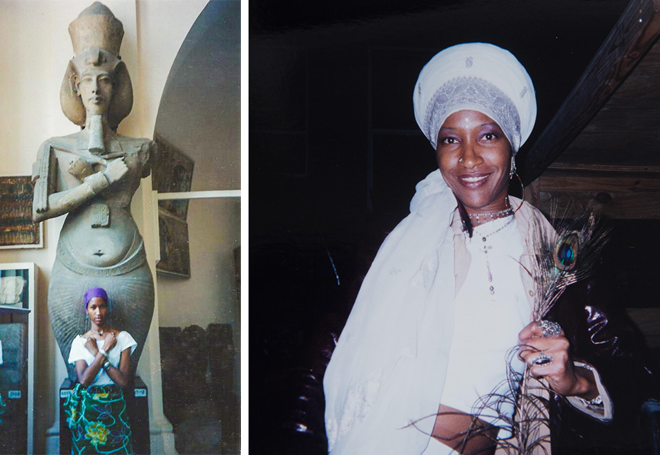 "Left, In Kemet: ""Our holy book is written in stone, not paper, baby."" RIght, Initiate of Queen Afua's Sacred Woman Village. Photos courtesy of Liza Jessie Peterson."