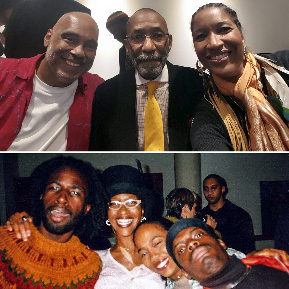 "Above, Liza with fellow  artivist ,  Danny Simmon s and ""Uncle Ron,"" jazz legend,  Ron Carter  at BRIC Arts in 2015. Below, Liza with Saul Williams, Sonja Sohn and Bönz Malone at the 1998 Sundance Film Festival for the Grand Jury Prize-winning film,  Slam;  the film's editor, Emir Lewis in the background. Photos courtesy of Liza Jessie Peterson."