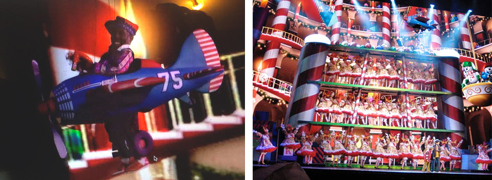 Flying high in the televised production of the   75th Anniversary of the Radio City Christmas Spectacular.