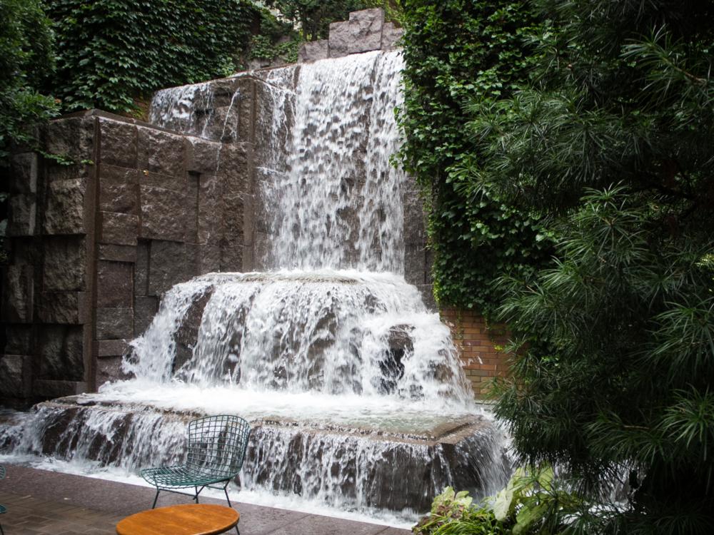 The lush waterfall of Goodacre Park.