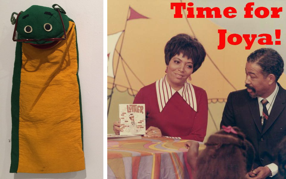 """Seymour the Bookworm."" Joya Sherrill holds Mr. BB's book,  Luther  on  Time for Joya!   Photos courtesy of Barbara Brandon-Croft."