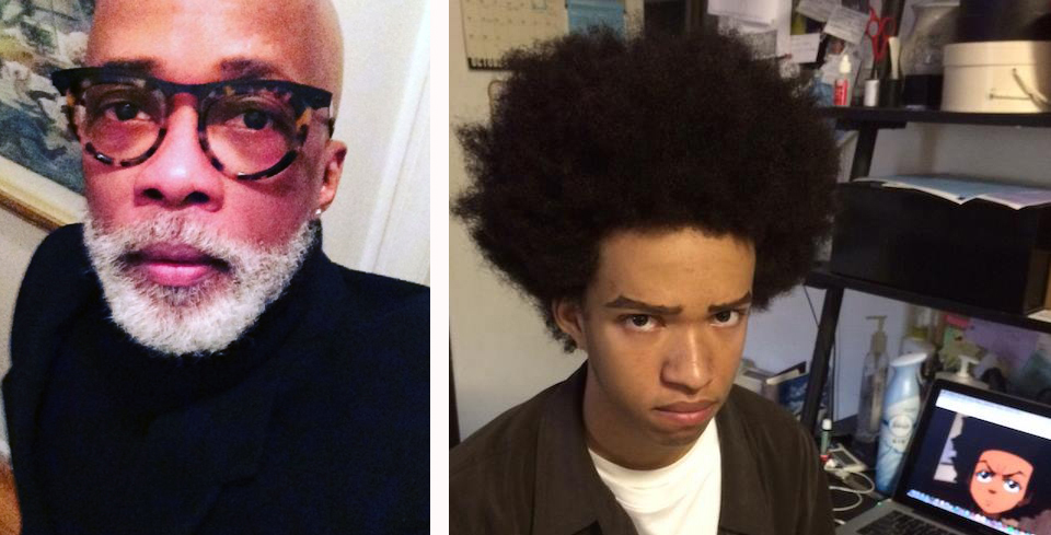 Barbara's loves: cool cat, Monte; and Chase as Huey Freeman, perfect Halloween look for the son and grandson of cartoonists. Photos courtesy of Barbara Brandon-Croft.