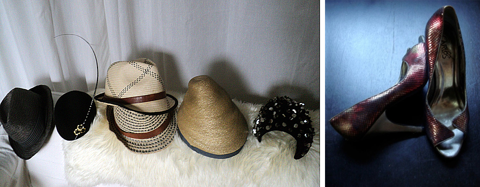 """A few hats from her collection. Pumps ,  Carlos by Carlos Santana .  """"Don't they just make you want to Salsa? """""""