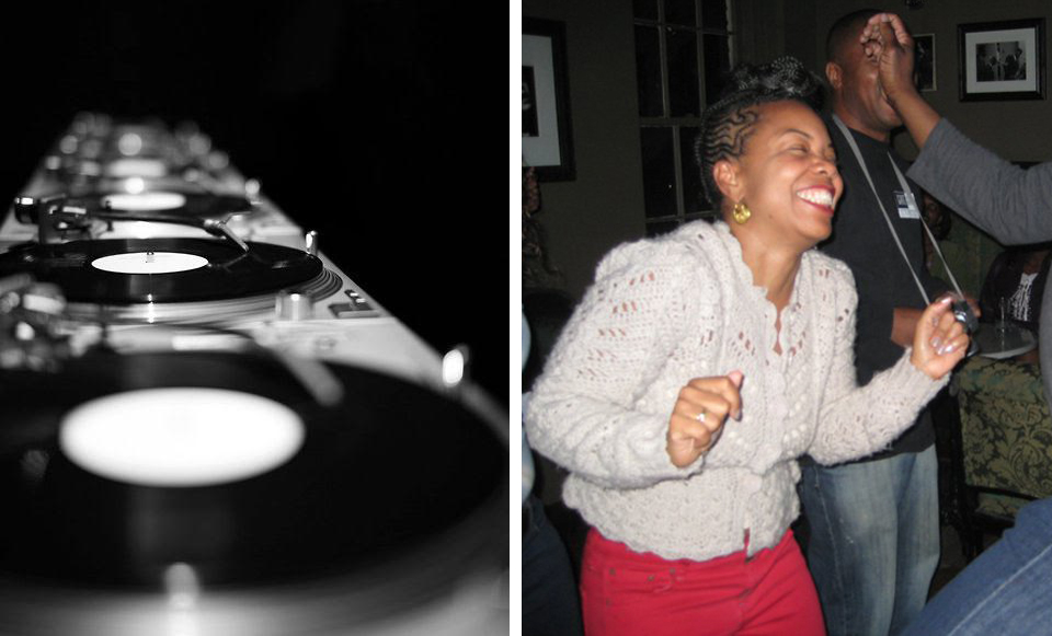 Technics  turntables;  Joyfully getting her twirl on.  Photo courtesy of Crystal Whaley.