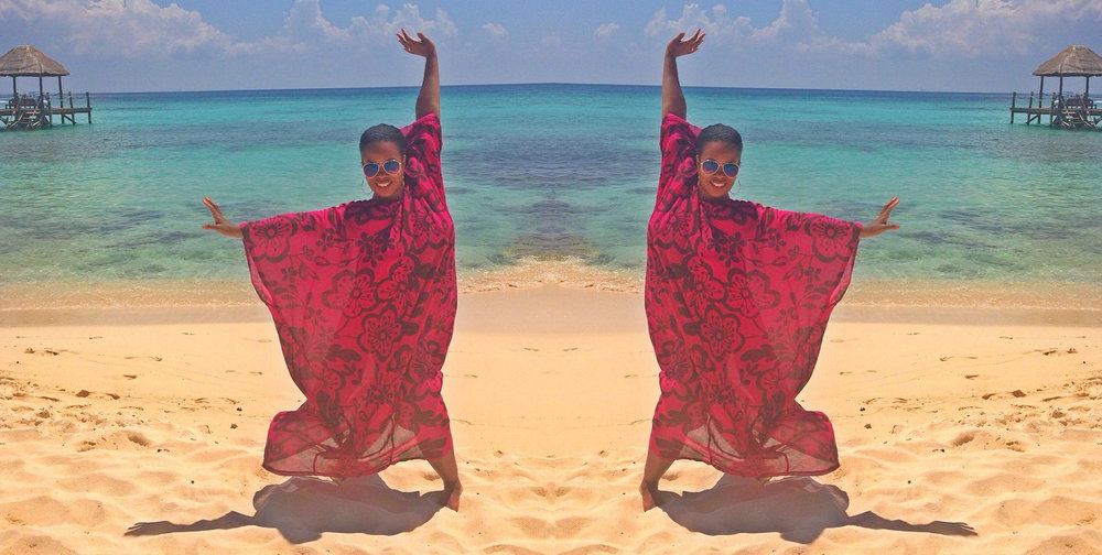 Double take: Crystal wearing a vibrant  Martine's Dream  caftan on Playa del Carmen, Mexico.