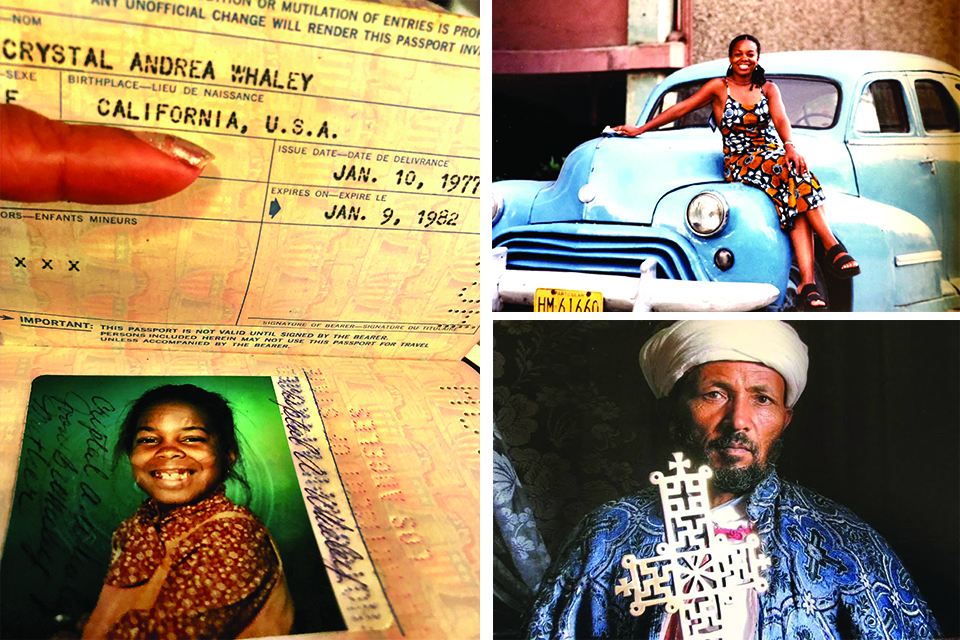 One of Crystal's early passports; exploring Cuba and her portrait of a Holy man in Lalibela, Ethiopia. Photos courtesy of Crystal Whaley.