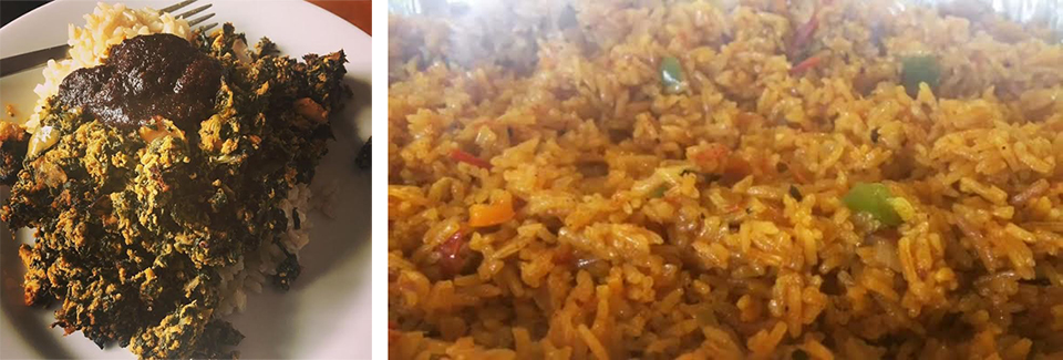 "Among his specialities: the spicy spinach and fish stew  Nkontomire  and Jollof rice. He good-naturedly scoffs at the Jollof Wars among African nations: ""Everyone else makes red rice, Ghanaians make Jollof!"" Photos courtesy of Jeremiah Abiah."