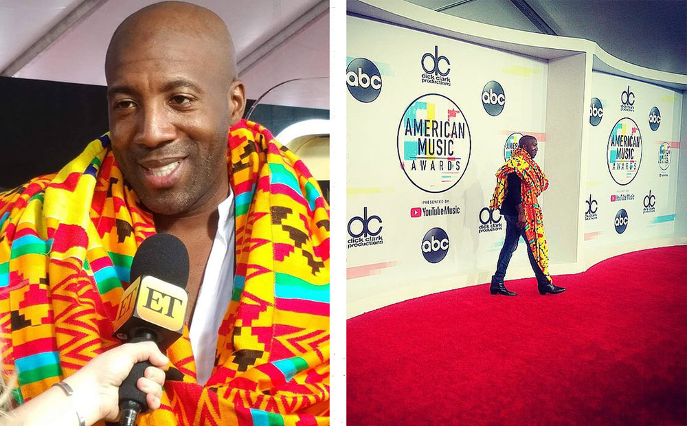He rocked the red carpet, gloriously repping for Ghana in bold, vibrant kente at the recent American Music Awards, wowing the media along the way. Photos by  Gwendolyn Quinn .