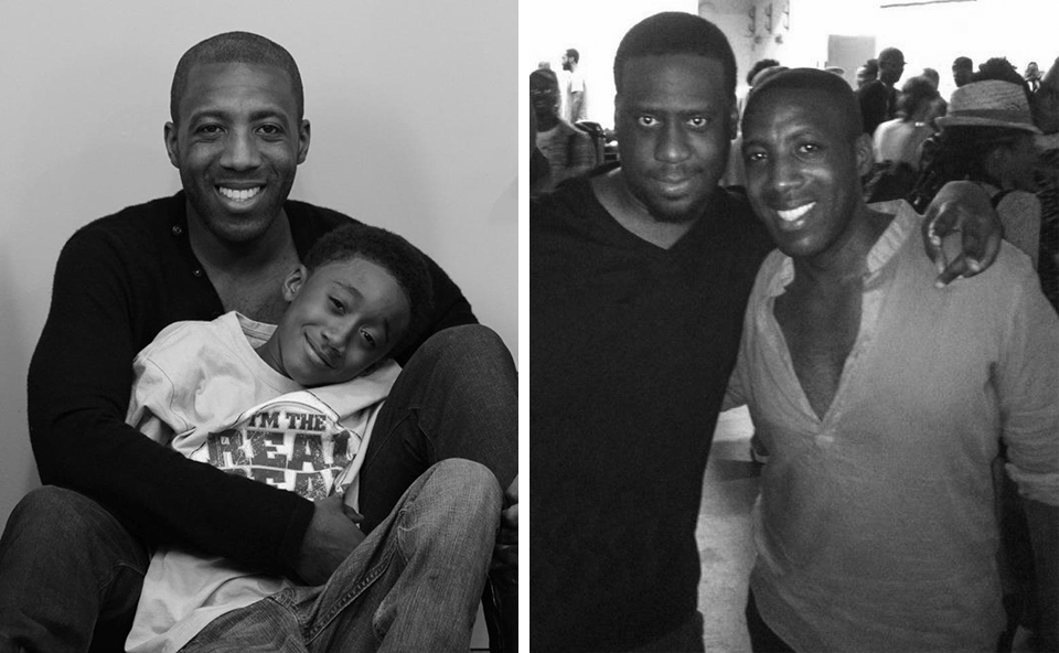 "Jeremiah with his ""Piccolino,"" Italian for ""little one"" — the great nephew he feels privileged to help raise. Brilliant artists, Jeremiah and his ""surprise"" cousin, Robert Glasper."
