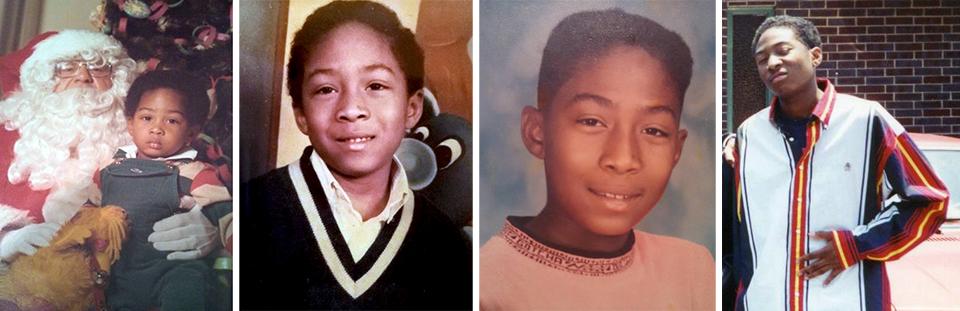 """Kip"" Bailey's Southern childhood: Circa Christmas 1981 in Memphis; third grade; Our Lady of Lourdes School, Atlanta, 1992; and rocking Hilfiger circa 1996. Photos courtesy of Eddie Bailey III."