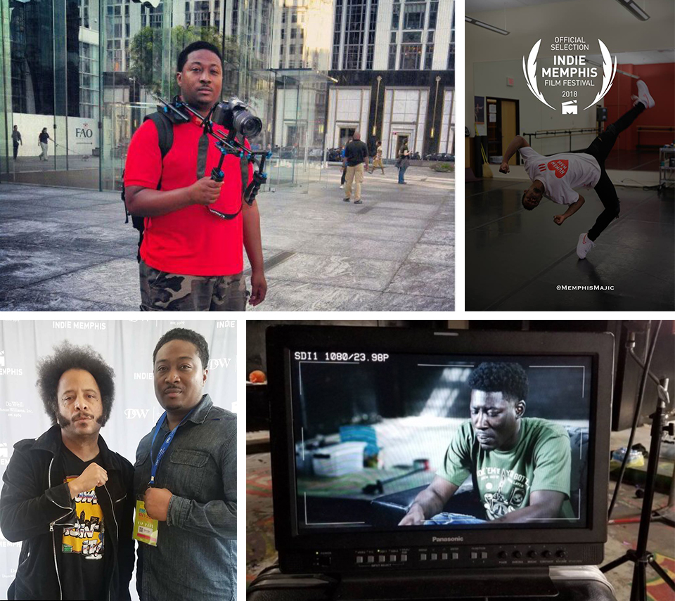 Clockwise: The documentarian; Li'l Buck in a still from Memphis Majic; the monitor on set; and Eddie with fellow filmmaker, Boots Riley ( Sorry to Bother You ) at the 2018 Indie Memphis Film Festival. Photos courtesy of The Savoy Media Group.
