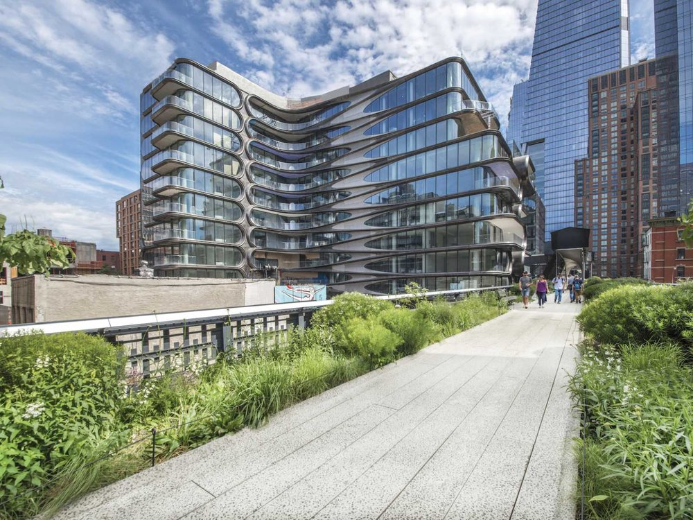 """A stroll along the High Line in Chelsea reveals Zaha Hadid's 11-story condo building at 520 W. 28th Street. Interestingly, the late Hadid was not licensed to practice architecture in New York State, so she is credited as """"designer"""" while the architect of note is the NYC-based firm, Ismael Levya Architects."""