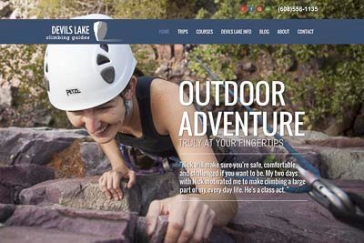 Website for Madison-based Devils Lake Climbing Guides