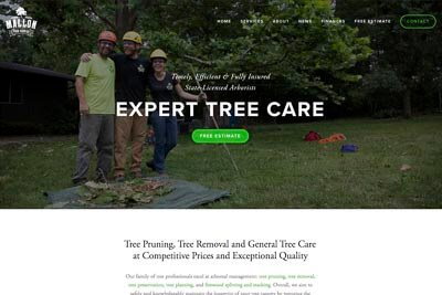 Website for Mallon Tree Service in Evansville, WI
