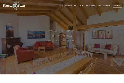 Website for NamaStay, a house rental business in Springdale, UT