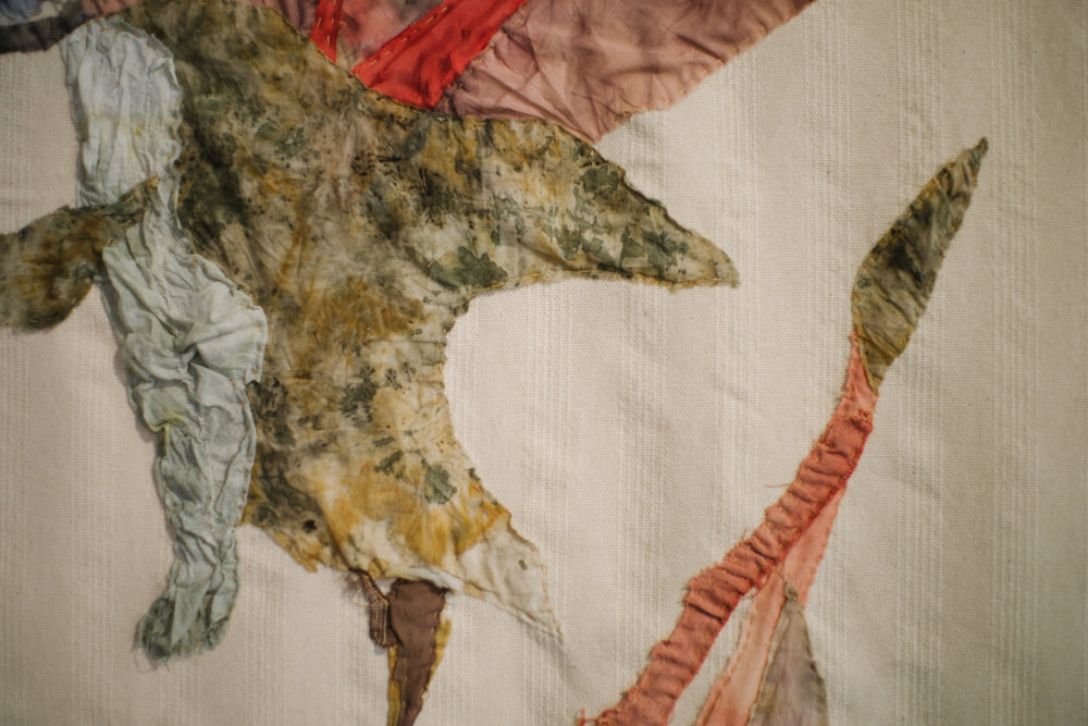 Mustang Jane Textil  Patchwork with natural prints, Palo de Brasil, Cochineal, Black Beans, Leafs 120 cm x 140 cm  2017