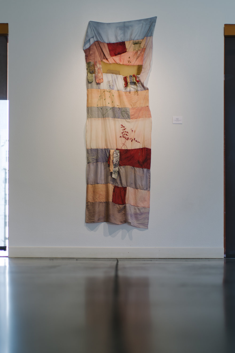 Mustang Jane Textil Herbarium /Herbario Textil Embroidery over patchwork with natural prints, Palo de Brasil, Cochineal, Black Beans, Leafs 90 cm x 237 cm 2018