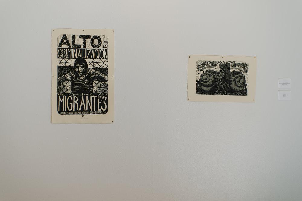 Mazatl Alto a la Criminalizacion de Migrantes Relief print 2011  Mazatl EZLN Relief print 2014
