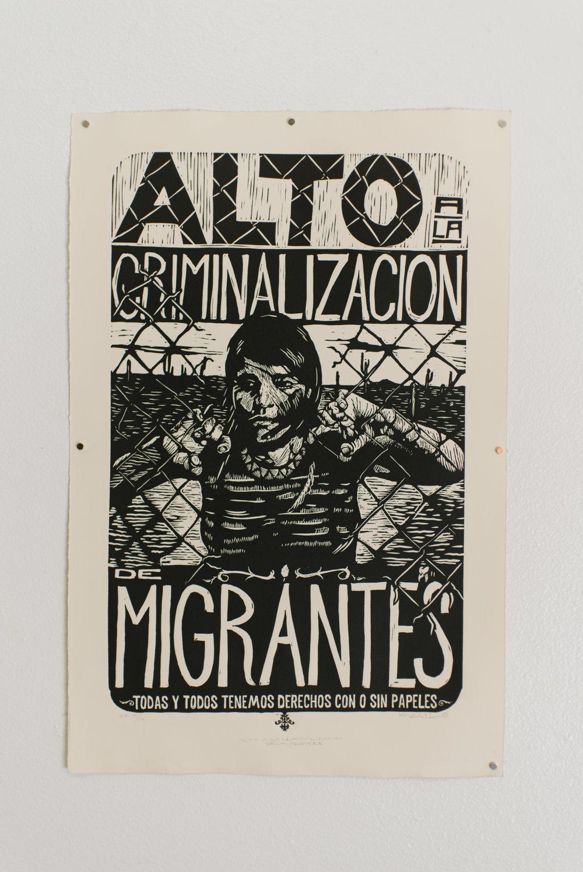 Mazatl Alto a la Criminalizacion de Migrantes Relief print 2011