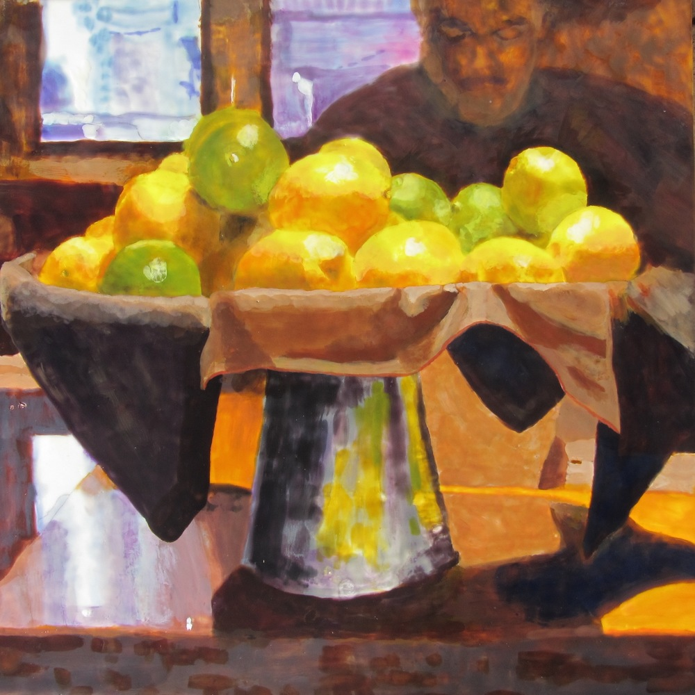 """Lemons and Limes, Encaustic, 24"""" x 24"""""""