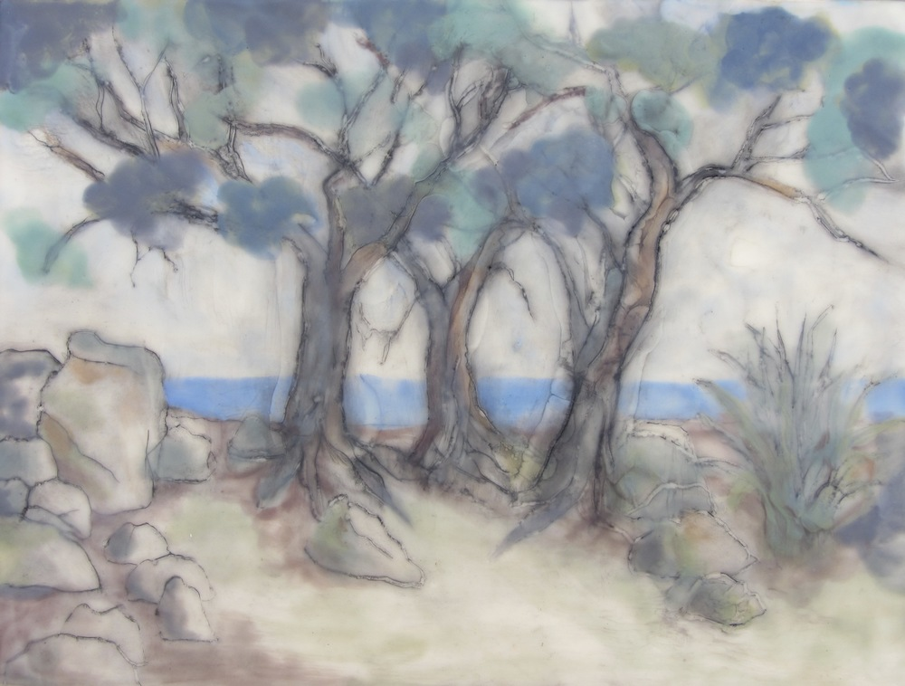 "Three Trees, Encaustic, 12"" x 16"", $450."