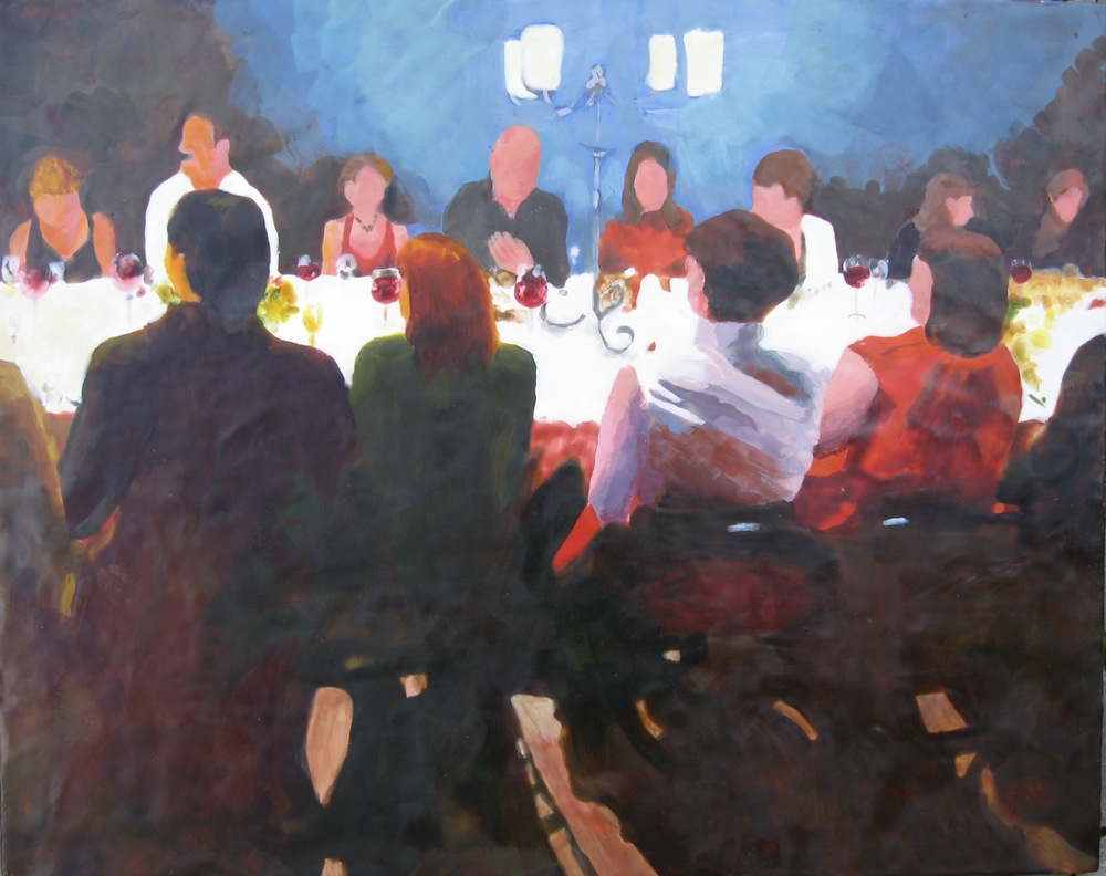 "Dinner Party, Encaustic, 24"" x 30"", $1200."