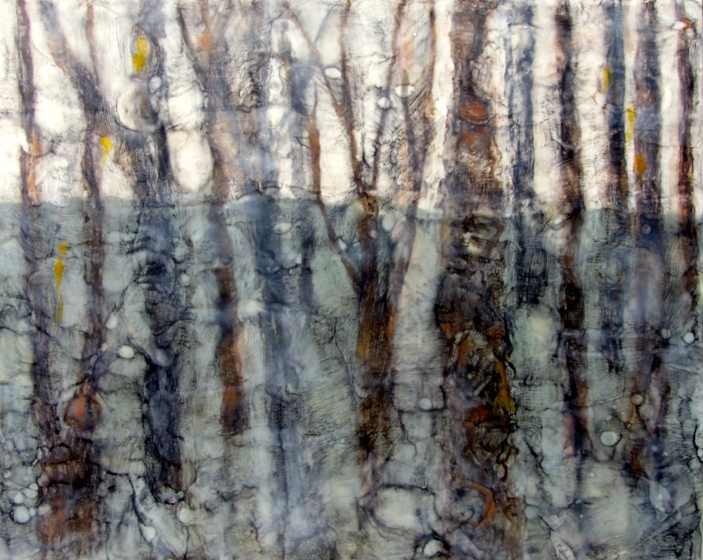 "Winter Forest, Encaustic, 24"" x 30"", $1200."